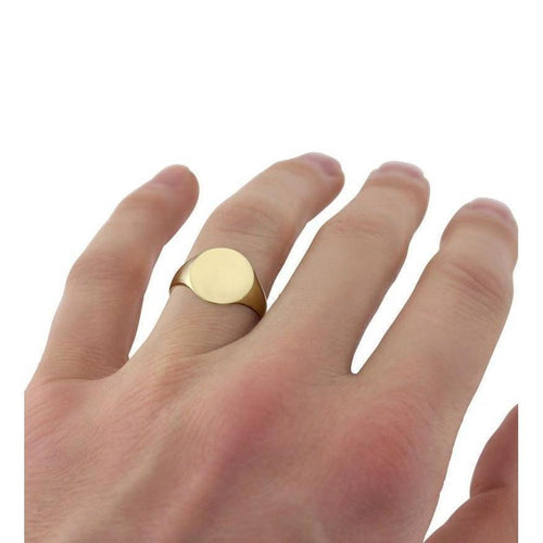 Oval-shaped 9kt Yellow Gold Lightweight Signet Ring ,[product vendor],JewelStreet