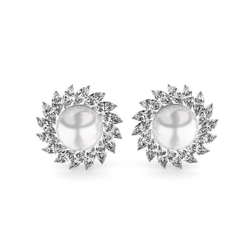 Pearl And Diamond Earrings ,[product vendor],JewelStreet