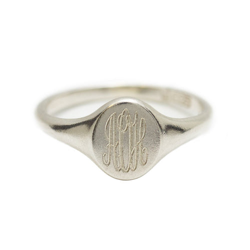 Personalised Monogrammed Signet Ring Silver ,[product vendor],JewelStreet