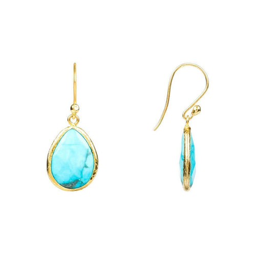 Petite Drop Earring Gold Turquoise ,[product vendor],JewelStreet