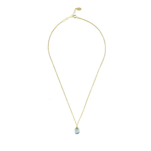 Pisa Mini Teardrop Necklace Gold Blue Topaz ,[product vendor],JewelStreet