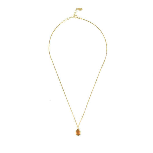 Pisa Mini Teardrop Necklace Gold Citrine ,[product vendor],JewelStreet