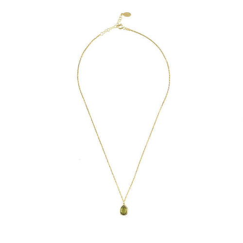 Pisa Mini Teardrop Necklace Gold Peridot ,[product vendor],JewelStreet