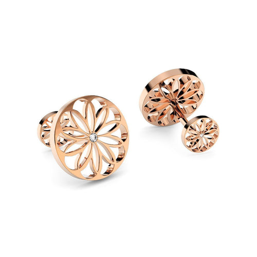 Rose Gold Plated Silver & Diamond Cufflinks ,[product vendor],JewelStreet