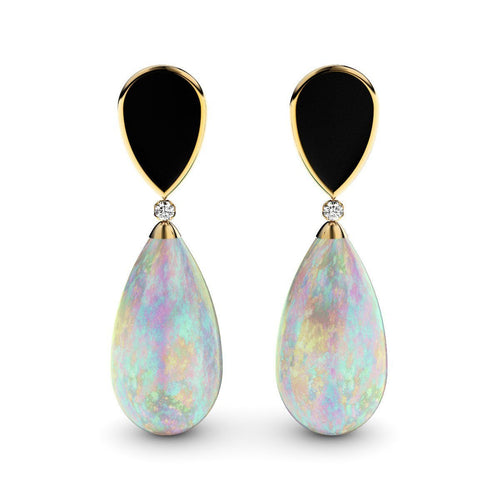 Rose Gold Plated Silver, Crystal Opal & Diamonds Earrings ,[product vendor],JewelStreet