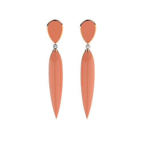 Rose Gold Plated Silver, Diamond & Coral Earrings ,[product vendor],JewelStreet