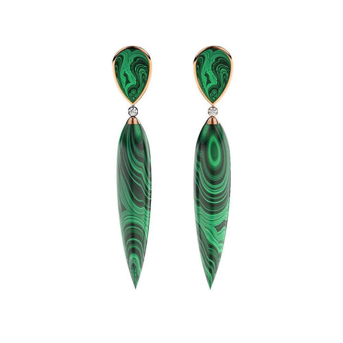 Rose Gold Plated Silver, Diamond & Malachite Earrings ,[product vendor],JewelStreet