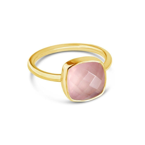 Rose Quartz Cocktail Ring in Yellow Gold ,[product vendor],JewelStreet