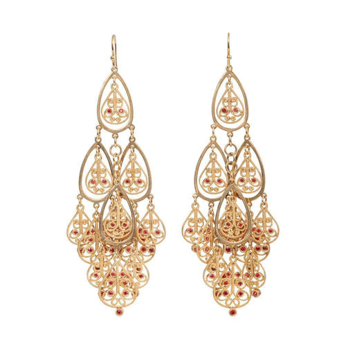 18kt Yellow Gold Orange Sapphire Shalimar Earrings ,[product vendor],JewelStreet