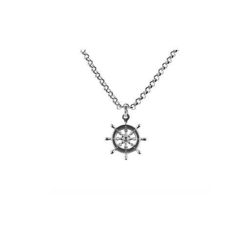 Silver Captains Wheel Necklace ,[product vendor],JewelStreet