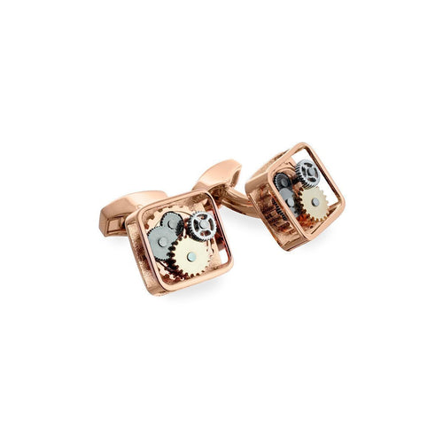 Rose Gold Square Gear Cufflinks ,[product vendor],JewelStreet