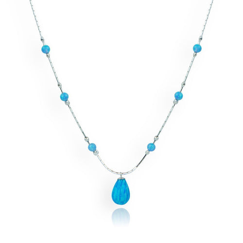 Sterling Silver & Blue Opal Pendant Necklace ,[product vendor],JewelStreet