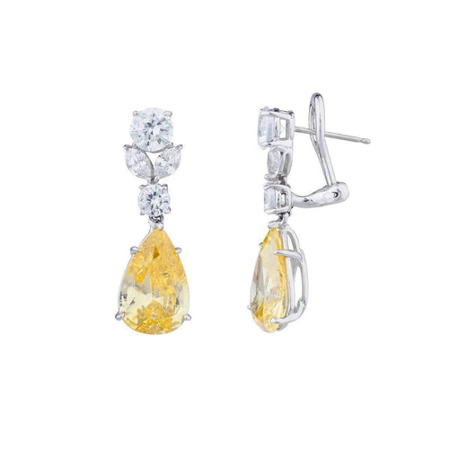 Sterling Silver & Palladium Canary Teardrop Earrings ,[product vendor],JewelStreet