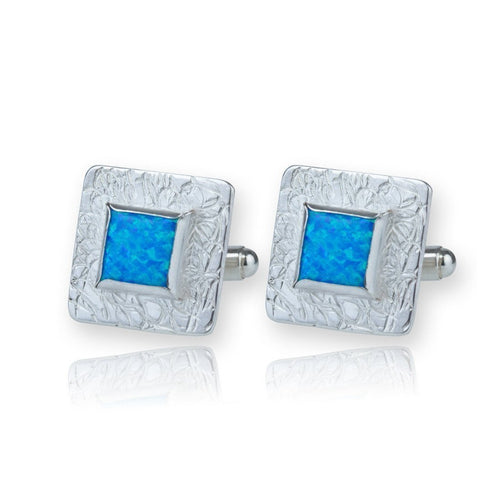 Sterling Silver Etched Blue Opal Cufflinks ,[product vendor],JewelStreet