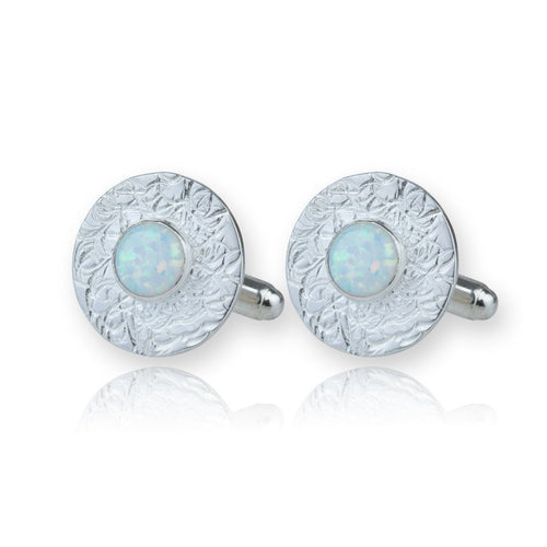 Sterling Silver Hand Etched Cufflinks With White Opals ,[product vendor],JewelStreet