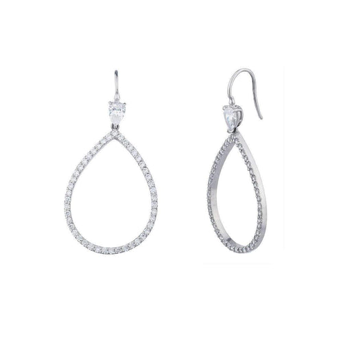 Sterling Silver Open Pearshape Drop Earrings ,[product vendor],JewelStreet
