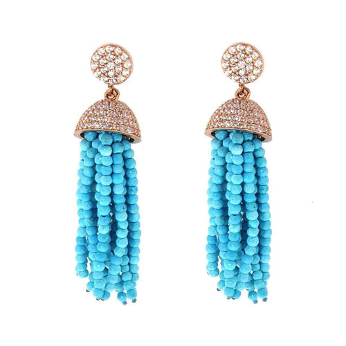 Turquoise Tassel Earrings ,[product vendor],JewelStreet