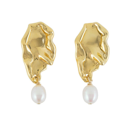 Wave Stud Earrings With Pearls ,[product vendor],JewelStreet