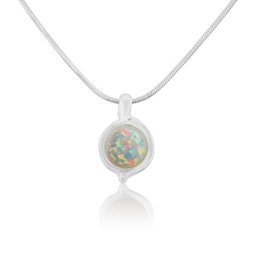 White 8mm Opal & Silver Pendant ,[product vendor],JewelStreet