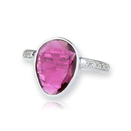 White Gold, Pink Tourmaline & Diamond Ring ,[product vendor],JewelStreet