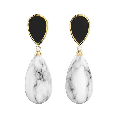 Marble Yellow Gold Plated Earrings ,[product vendor],JewelStreet