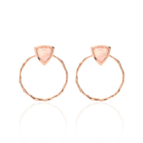 18kt Rose Gold Vermeil Trillion Front Facing Hoops With Rose Quartz ,[product vendor],JewelStreet