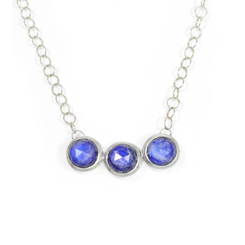 Trilogy Necklace In Sterling Silver, Lapis Lazuli, And Moonstone ,[product vendor],JewelStreet