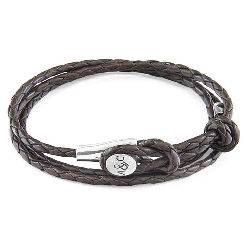 Dark Brown Dundee Silver and Braided Leather Bracelet ,[product vendor],JewelStreet