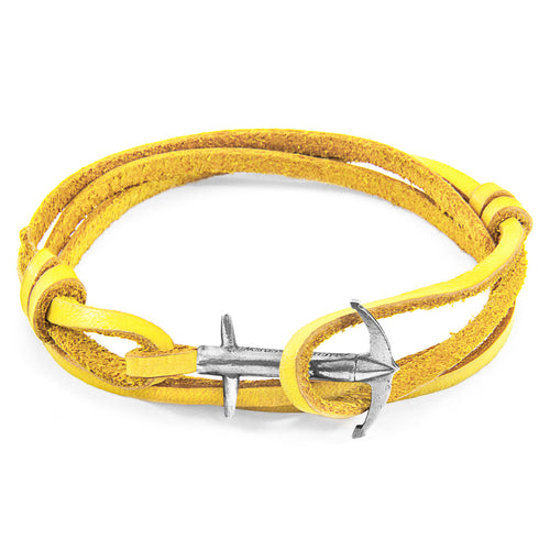 Mustard Yellow Admiral Anchor Silver and Flat Leather Bracelet ,[product vendor],JewelStreet