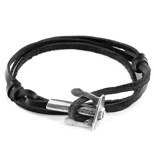 Coal Black Union Anchor Silver and Flat Leather Bracelet ,[product vendor],JewelStreet
