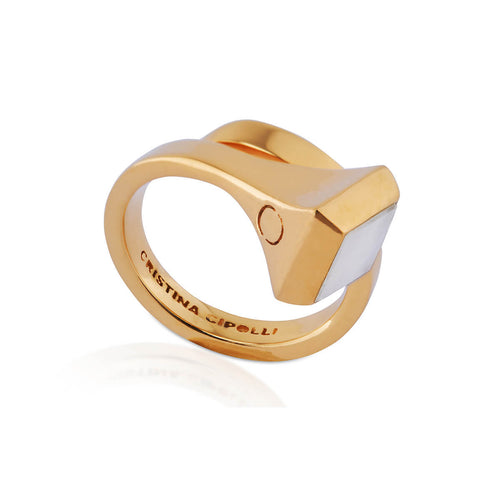 Gold Vermeil Amazon Ring With Rainbow Moonstone ,[product vendor],JewelStreet