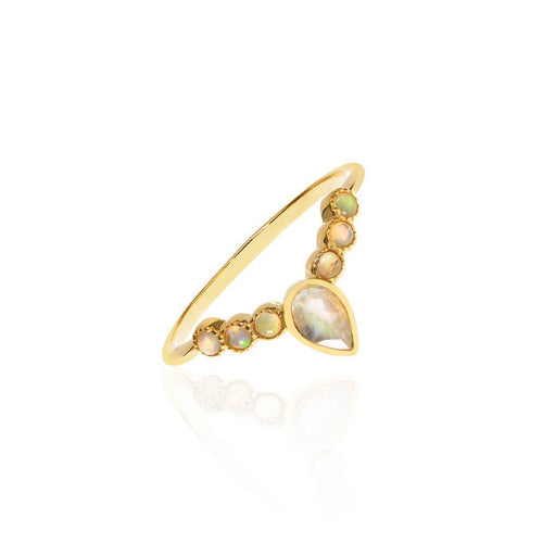 18kt Yellow Gold Vermeil Bijou Arc Ring With Moonstone & Opal ,[product vendor],JewelStreet