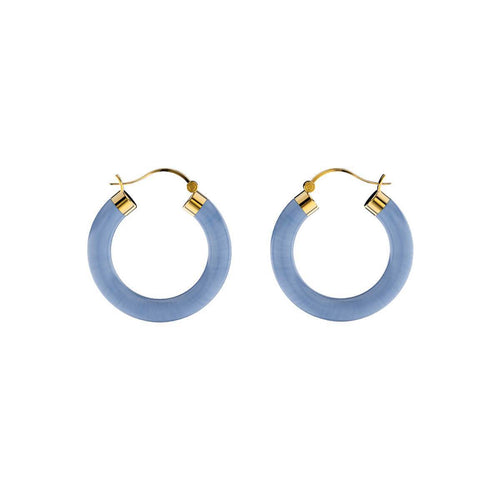 Yellow Gold Plated Sterling Silver Blue Agate Earrings ,[product vendor],JewelStreet