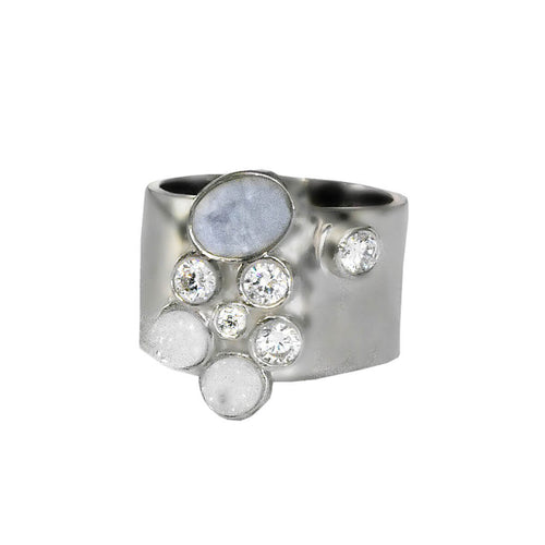 Rhodium Plated Cigar Band With Rainbow Moonstone, White Druzy & CZ ,[product vendor],JewelStreet