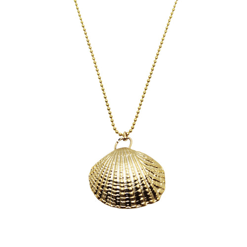 Gold Clam Shell Necklace ,[product vendor],JewelStreet