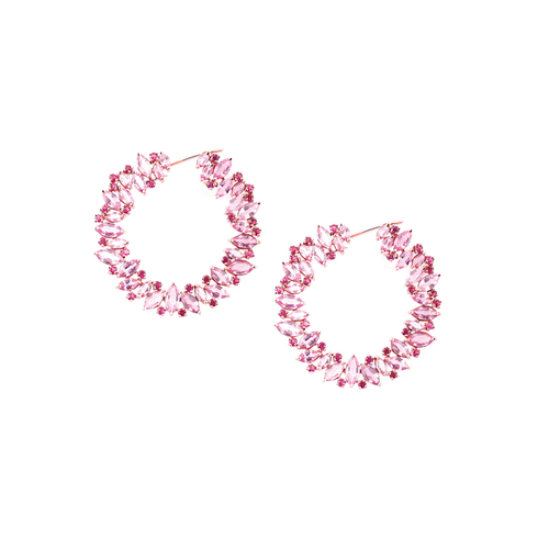 18kt Rose Gold Pink Sapphire And Ruby Hoop Earrings ,[product vendor],JewelStreet