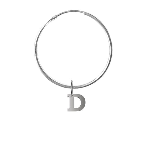 Alphallumer Hoop Earring - Sterling Silver - White Gold Hoop ,[product vendor],JewelStreet