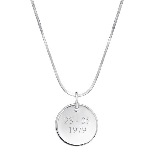 Sterling Silver Personalised Disc Necklace ,[product vendor],JewelStreet