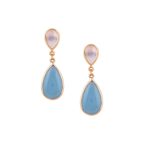 18kt Yellow Gold Rainbow Moonstone & Aquamarine Pear Shaped Earrings ,[product vendor],JewelStreet