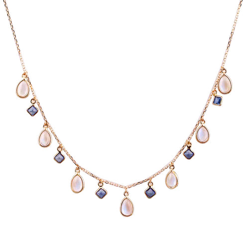 18kt Yellow Gold Blue Sapphire & Rainbow Moonstone Necklace ,[product vendor],JewelStreet