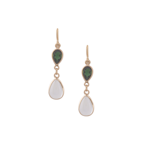 18kt Yellow Gold Tsavorite & Rainbow Moonstone Pear Shaped Earring ,[product vendor],JewelStreet