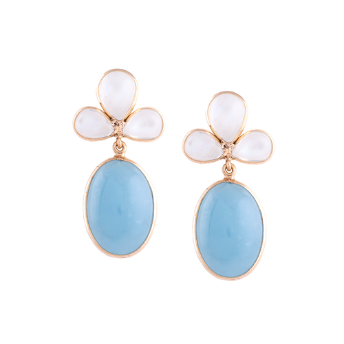 18kt Yellow Gold Rainbow Moonstone Pear Shaped & Aquamarine Oval Earrings ,[product vendor],JewelStreet