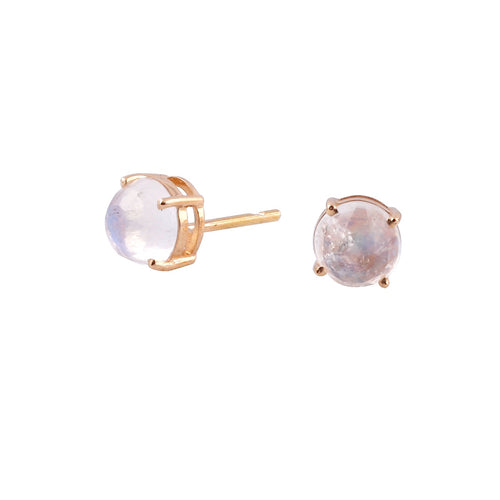18kt Yellow Gold Rainbow Moonstone Round Stud Earrings ,[product vendor],JewelStreet