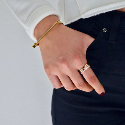 Gold Slim Screw Cuff Bracelet ,[product vendor],JewelStreet