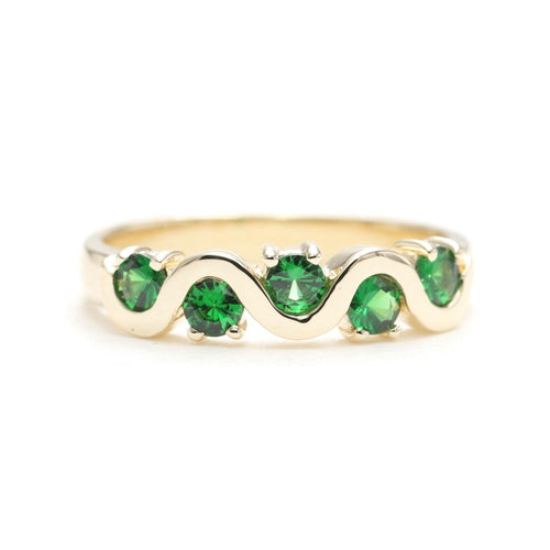 14kt Solid Wave Wedding Band With Green Tsavorite  ,[product vendor],JewelStreet