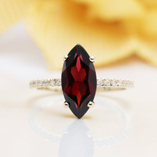 14kt Gold High Quality Red Garnet Diamond Engagement Ring ,[product vendor],JewelStreet