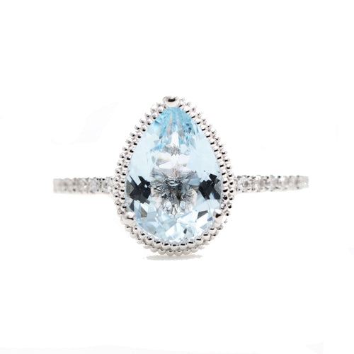 14kt Gold Solitaire Natural Pear Aquamarine Bead Engagement Ring  ,[product vendor],JewelStreet