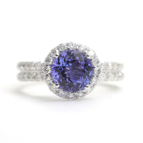 14kt White Gold Tanzanite & Diamond Halo Engagement Ring ,[product vendor],JewelStreet