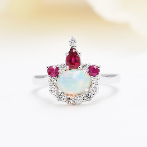 14kt Gold Natural Opal, Ruby & Diamond Crown Engagement Ring ,[product vendor],JewelStreet