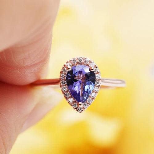 14kt Gold Natural Tanzanite Diamond Halo Engagement Ring ,[product vendor],JewelStreet